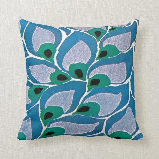 E.A. Séguy Art Deco Art Nouveau Blue Hosta Throw Pillow