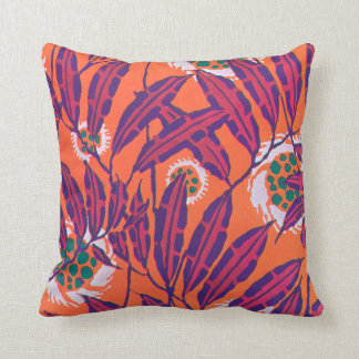 E.A. Séguy Art Deco Art Nouveau Fuchsia Leaves Throw Pillow