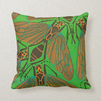 E.A. Séguy Art Deco Art Nouveau Green Fly Throw Pillow