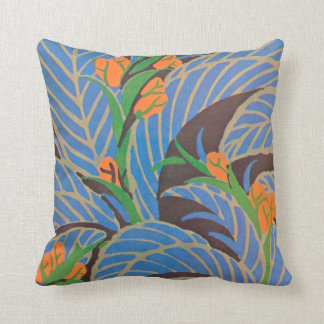 E.A. Séguy Art Deco Art Nouveau Orange Canna Throw Pillow