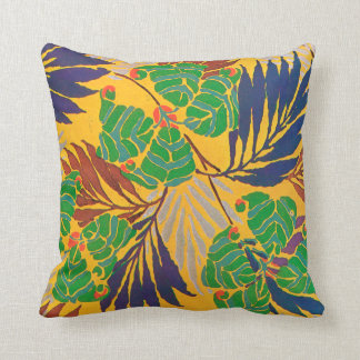 E.A. Séguy Art Deco Art Nouveau Purple Leaves Throw Pillow
