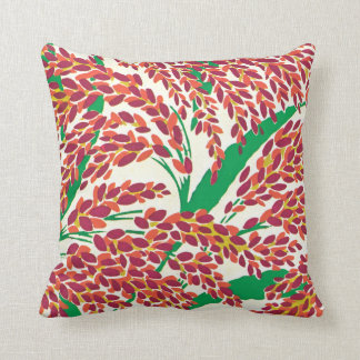 E.A. Séguy Art Deco Art Nouveau Red Leaves Throw Pillow