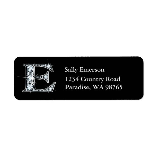 """E"" Diamond Bling Monogram Return Address Label"