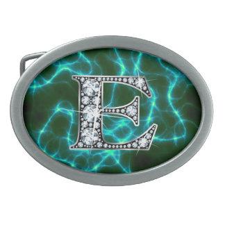 """E """"Diamond"""" Monogram on Lightning Bolt Belt Buckles"""