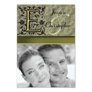 "E - Embossed Vintage Monogram (Gold) 3.5"" X 5"" Invitation Card"
