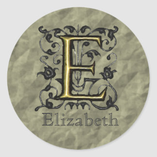 E - Embossed Vintage Monogram (Gold) Classic Round Sticker