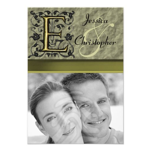 E - Embossed Vintage Monogram (Gold) Personalized Announcement