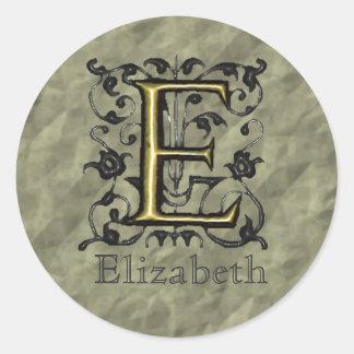 E - Embossed Vintage Monogram (Gold) Round Sticker