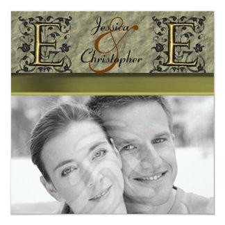 "E - Embossed Vintage Monogram (Gold) (Wedding) 5.25"" Square Invitation Card"
