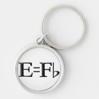 e=f flat kechain Silver-Colored round keychain