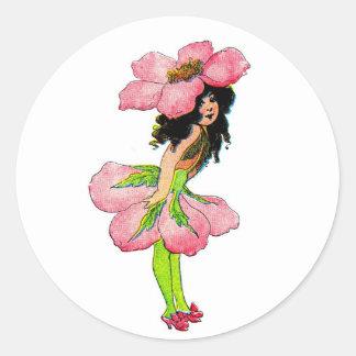 E Gordon Flower Fairies Wild Rose Fairy M.T Ross Classic Round Sticker