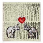 E is for Elephant Dictionary Page (K.Turnbull Art) Poster