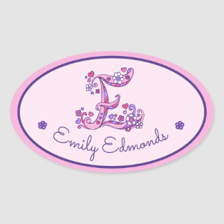 E letter monogram custom name id pink stickers