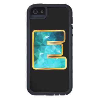 """E Low-Poly Teal Water in """"Gold"""" Channel Case For The iPhone 5"""