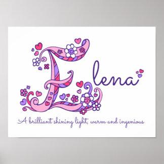 E monogram art Elena girls name meaning poster