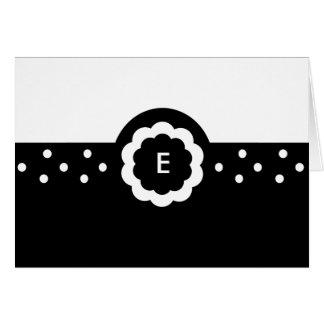 E :: Monogram E Dotted Black & White Note Card