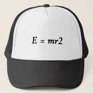 E=mr2 font trucker hat