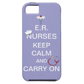 E.R. Nurses Keep Calm+Stethoscope and Cap/Purple iPhone 5 Cases