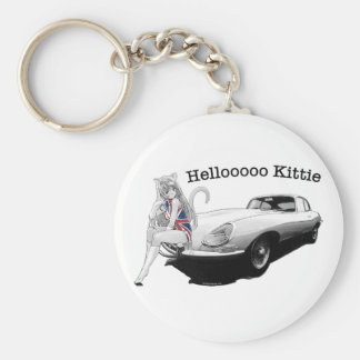 E-type Jag with hot cat girl Basic Round Button Keychain