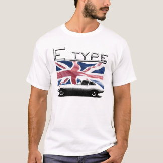 E type Jaguar on UK flag Background T-shirts