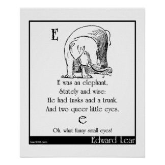 E was an elephant posters