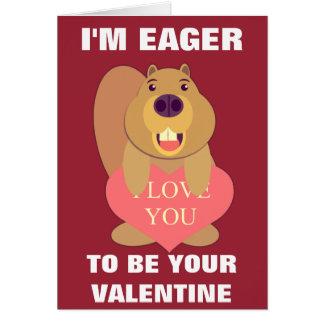 Eager Beaver Valentine Card