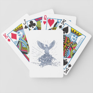 Eagle and Dragon Mountains Drawing Bicycle Playing Cards
