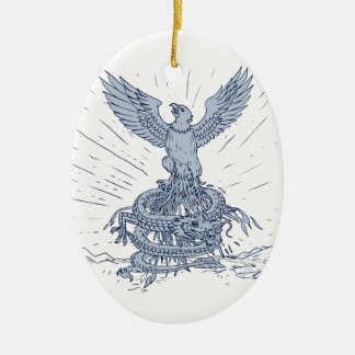 Eagle and Dragon Mountains Drawing Ceramic Ornament