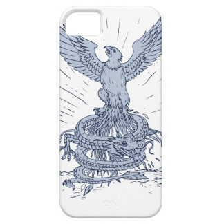 Eagle and Dragon Mountains Drawing iPhone 5 Case