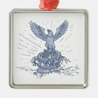 Eagle and Dragon Mountains Drawing Metal Ornament