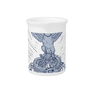Eagle and Dragon Mountains Drawing Pitcher