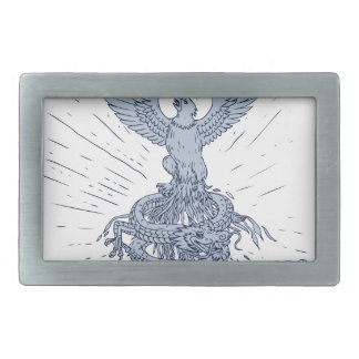 Eagle and Dragon Mountains Drawing Rectangular Belt Buckles