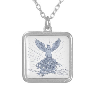 Eagle and Dragon Mountains Drawing Silver Plated Necklace