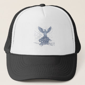 Eagle and Dragon Mountains Drawing Trucker Hat