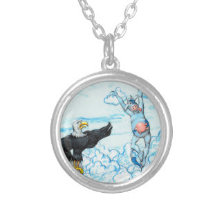 Eagle and Leaping Cow Silver Plated Necklace