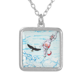 Eagle and pink leaping cow silver plated necklace