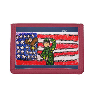 Eagle and solider tri-fold wallets