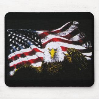 Eagle And USA Flag - Black Mouse Pad