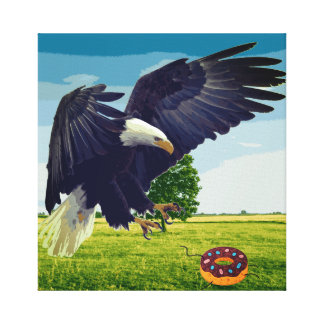 Eagle attacks doughnut canvas print