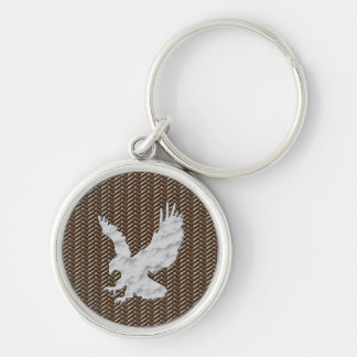 Eagle Brown Leather Silver-Colored Round Keychain