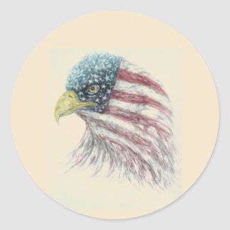 eagle,eagle with american flag classic round sticker