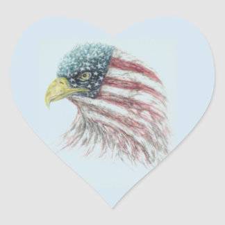 eagle,eagle with american flag heart sticker