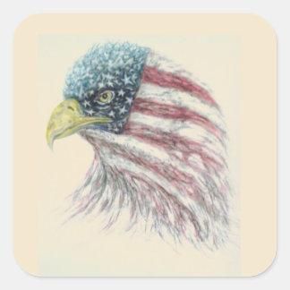 eagle,eagle with american flag square sticker