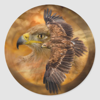 Eagle-Esprit de l'autocollant d'art de vent Sticker Rond
