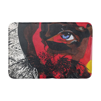 Eagle face in red bath mat