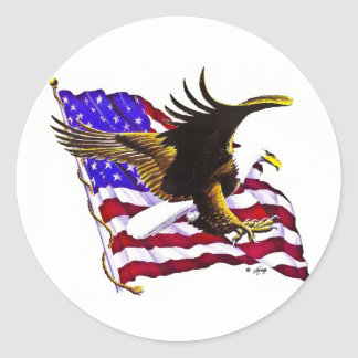 Eagle & Flag Classic Round Sticker