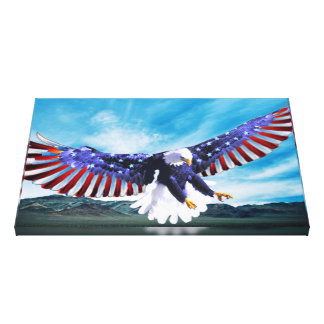 Eagle flying in the sky with a American flag Canvas Print