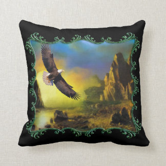 Eagle flying over a river valley. throw pillow