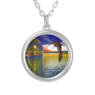 Eagle Flying over Water with Sphere, 3d Look Silver Plated Necklace