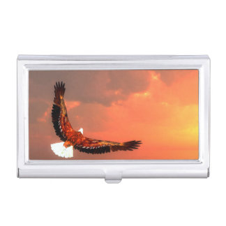 Eagle flying to the sun - 3D render Business Card Cases
